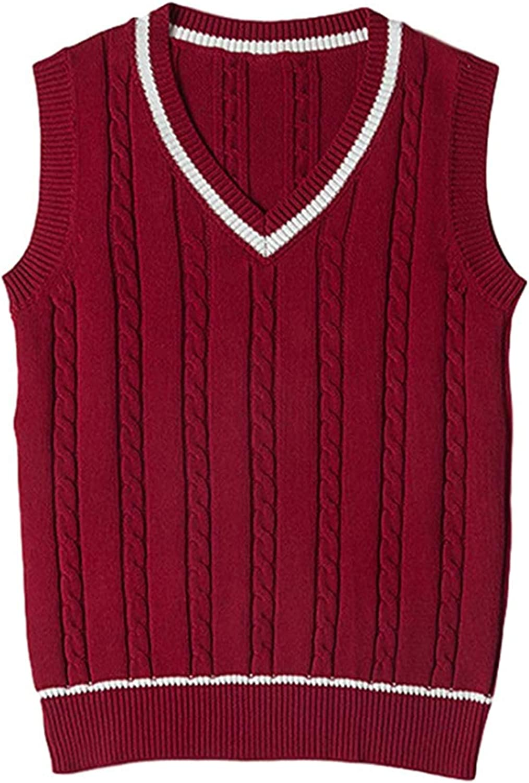 Vsaiddt Women's V Neck Cable Knit Vest Sweater School Uniform Sleeveless Sweater