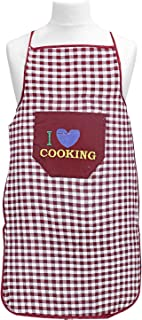 Kuber Industries Checkered Design Cotton waterproof Apron with Front Pocket (Maroon), 75x50 cm