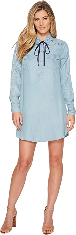 Miss Me Embroidered Denim Long Sleeve Shirtdress