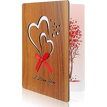 TUPARKA Valentinstags karte Liebes Karten Grußkarte aus Holzimitat für Jubiläum, Muttertag, Valentinstag, Geburtstage, Hochzeiten und besondere Anlässe