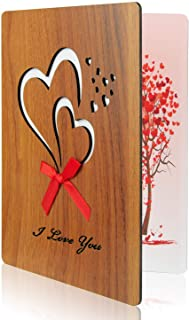 KUUQA I Love You Card Imitation Wooden Greeting Card for Anniversary, Valentine's Day, Birthdays, Weddings,Mother's Day,Father's Day, and Special Occasions