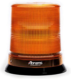 Abrams 7' Inch StarEye LED Beacon Dome [12 LED] [36W] Roof Top Permanent Mount [SAE Class-1] [30+ Flash Patterns] [IP67] Construction Vehicle Cars and Trucks Amber Flashing Warning Strobe Beacon Light