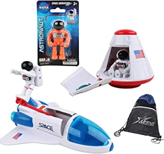 Daron NASA Space Adventure Toy Set: Space Shuttle, Space Capsule, 3 Astronauts, and Myriads Bag