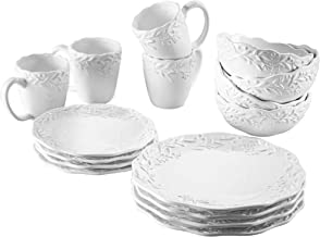 American Atelier Round Dinnerware Set - 16-Piece Ceramic Dinner Party Collection w/ 4 Dinner Plates, 4 Salad Plates, 4 Bowls & 4 Mugs -Gift Idea for Special Occasions White/Bianca 1562950-RB