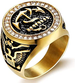 Alicejewelry Vintage United States Navy Ring Stainless Steel Cubic Zirconia Anchor Eagle Rings
