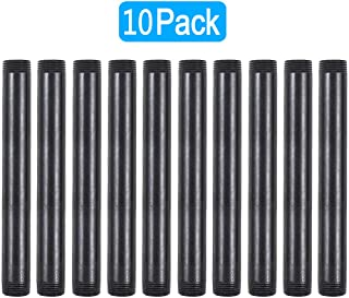 GOOVI 3/4 Inches x 8 Inches Black Malleable Steel Pipe Fitting, 3/4 Inches Black Pipe Threaded Pipe Nipples, Build Vintage DIY Shelving Steampunk Furnitur, 10 Pack.