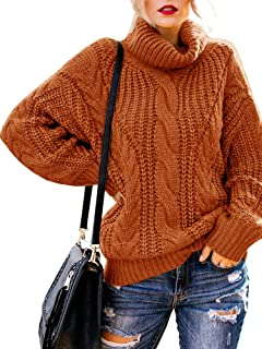 Soulomelody Womens Turtleneck Sweaters Chunky Cable Knit Oversized Long Sleeve Winter Pullover