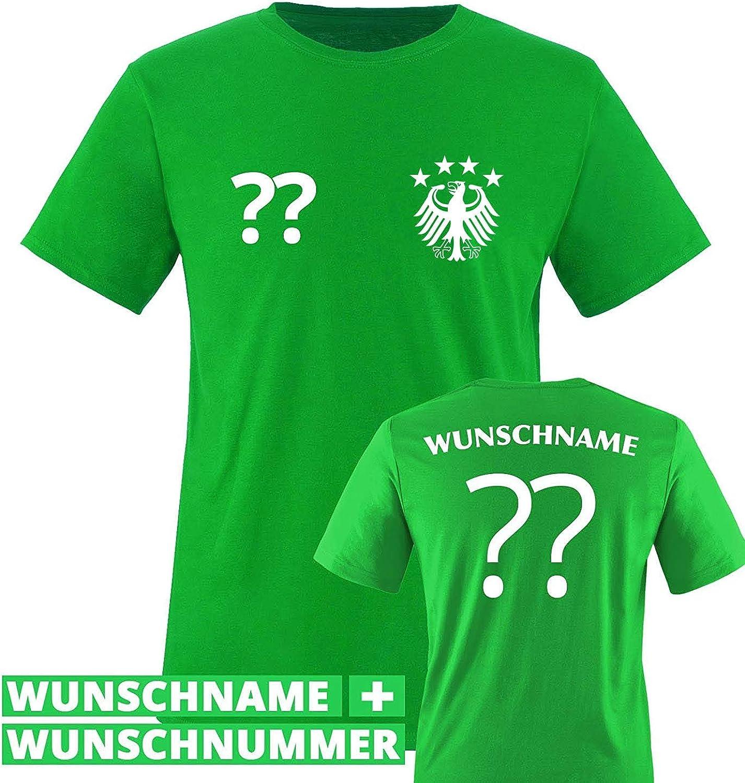 Wunschname /& Nummer WM//EM//Deutschland Rundhals Tshirt f/ür M/ädchen /& Jungen in Schwarz Deutschland Trikot in div Comedy Shirts Kinder Fu/ßball T-Shirt bedruckbar Gr/ö/ßen