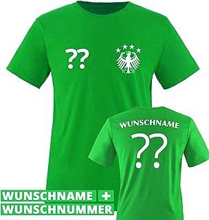Comedy Shirts Kinder Fußball T-Shirt bedruckbar - Wunschname & Nummer - WM/EM/Deutschland - Rundhals Tshirt für Mädchen & Jungen in Grün - Deutschland Trikot in div. Größen