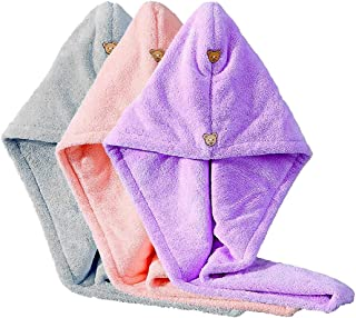 Hair Drying Towels with Button, Hair Wrap Towels for Women, Thickened Super Absorbent Microfiber Hair Towel Turban to Dry ...