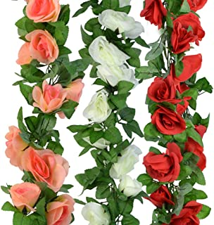 Yookat 3PCS 6.5Ft Artificial Rose Vine Silk Flower Garland Fake Rose Vine Flowers Plants Artificial Flower Hanging Rose for Wedding Party Garden Wall Decoration
