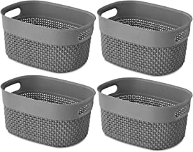 AREYZIN Storage Plastic Basket 4 Pack Durable Pantry Organization Bins Small Storage Container Trays Shelves for Organizin...