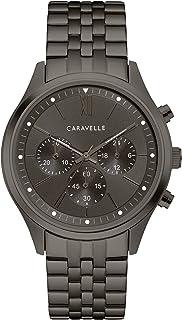 Caravelle designed by Bulova - Caravelle diseñado por Bulova Reloj de cuarzo para hombre con correa de acero inoxidable, gris, 19.75 (Modelo: 45A141)