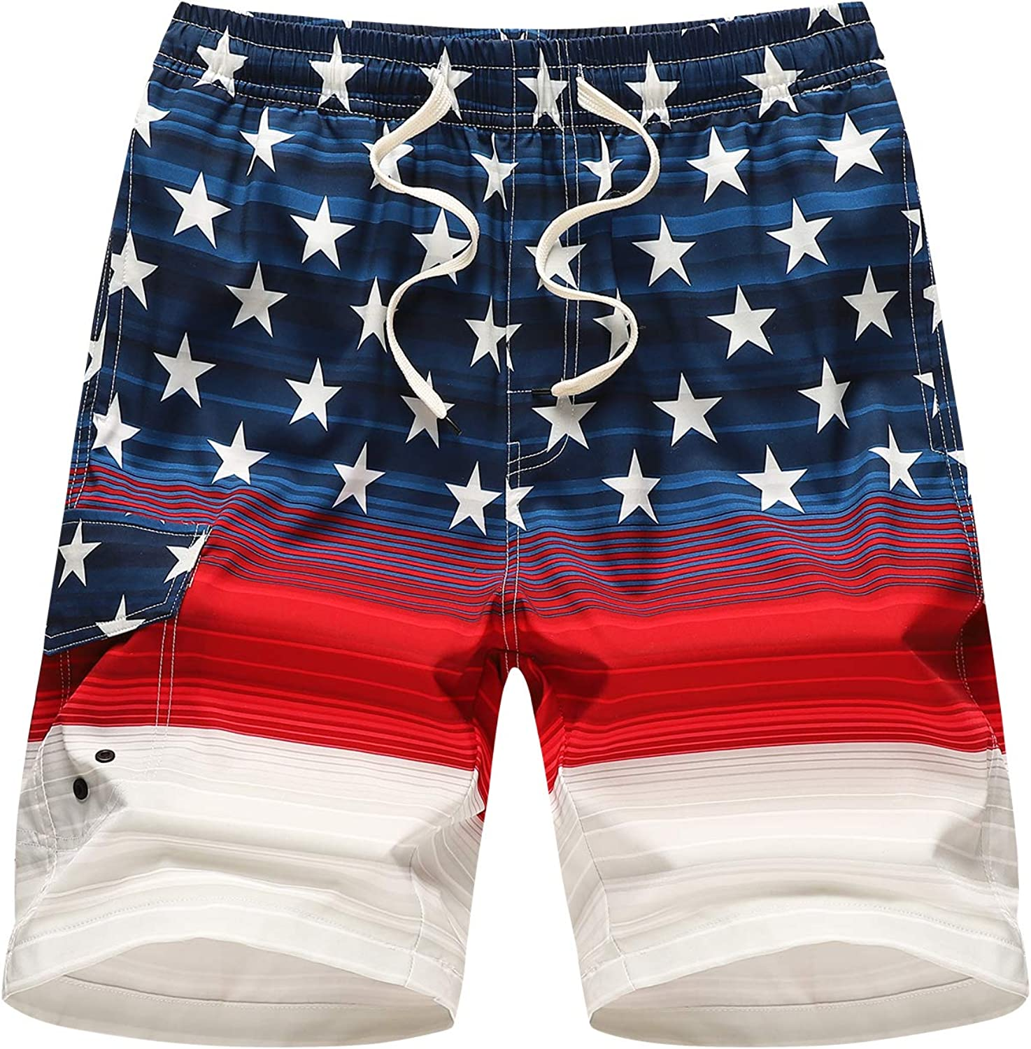 LTIFONE Men's Swim Trunks Quick Dry Beach Board Shorts Drawstring Lightweight with Elastic Waist and Pockets