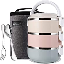 Mr.Dakai Stainless Steel Heat/Cold Insulated Lunch Box, Lock Container Bag/Food Carrier/Food Container with Spoon and Chop...
