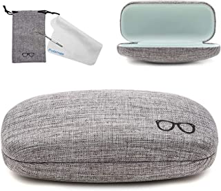Hard Eyeglass Sunglasses Case, Polemax Linen Fabric Glasses Protective Case for Small Medium Large Eyeglasses Sunglasses - Grey - FIts small and medium Sized frame