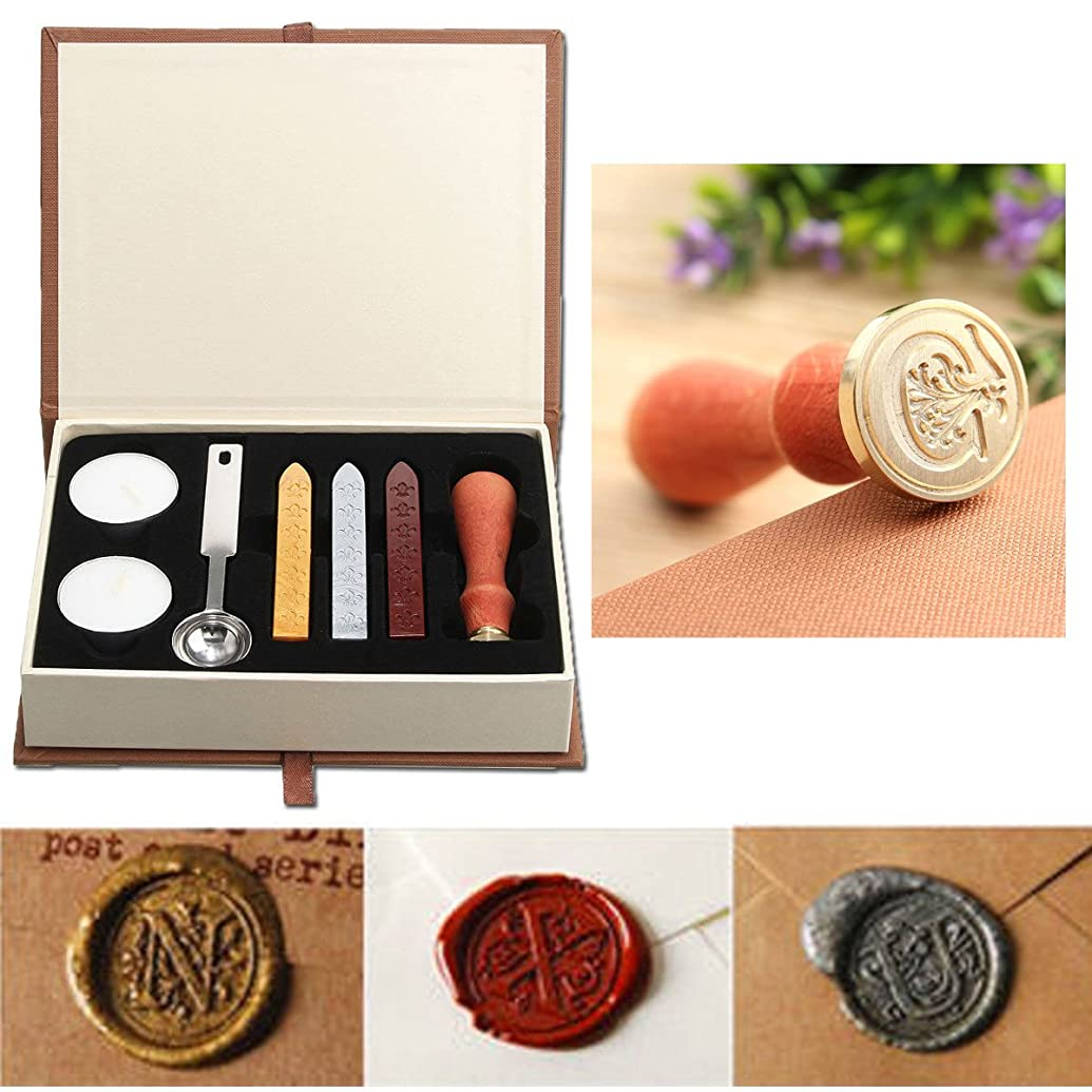 Seal Wax Kit,PUQU Vintage Initial Letters A-Z Alphabet Wax Badge Seal Stamp Kit Wax Set Tool Gift(C)