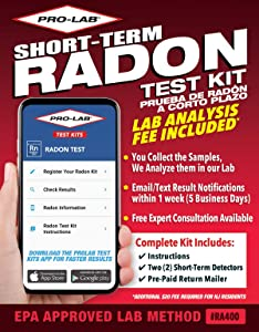 ProLab Radon Gas Short Term Test Kit - Lab Fee Included! Emailed Results withn 1 Week Includes Return Mailer, 1.8 Ounce, 2 Count (Pack of 1)