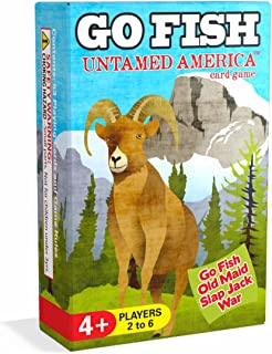 Arizona GameCo Go Fish Untamed America - Go Fish, Old Maid, Slap Jack and War - Play 4 Classic Kids Card Games with 1 Single Deck