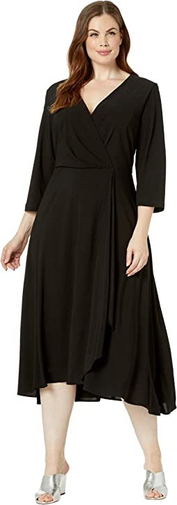 cb377d854f Taylor. Plus Size Long Sleeve Front Knot Midi Dress.  49.99MSRP   128.00.  New. Black