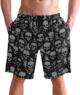 FFY Go Beach Shorts, Vintage Skull Printed Mens Trunks Swim Short Quick Dry with Pockets for Summer Surfing Boardshorts Ou...
