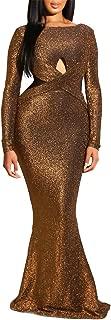 Women Long Sleeve Shiny Glitter Mesh Cut Out Bodycon Flowy Mermaid Party Maxi Long Dresses