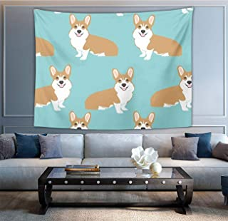 NiYoung Bohemian Mandala Hippie Hippy Decor Tapestry, Wall Hanging, Home Decor Art - Funny Corgi Dogs Mint Green Wall Tapestry, Living Room, Bedroom, Dorm Room Tapestries, Meditation