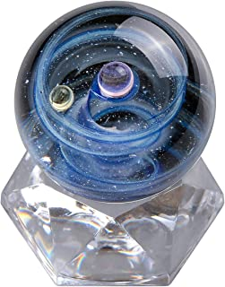 Jovivi Universe Galaxy Space Lampwork Glass Ball Sphere Sculpture Figurine with Acrylic Stand,Unique Special Cosmos Design Series Nebula Ribbon Double-Planet