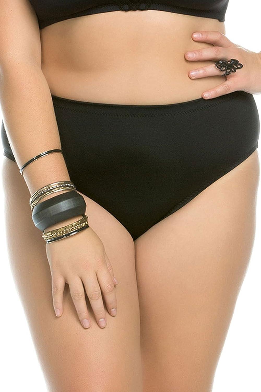 BECCA ETC Women's Plus Size Black Beauties Full Coverage Bikini Bottom