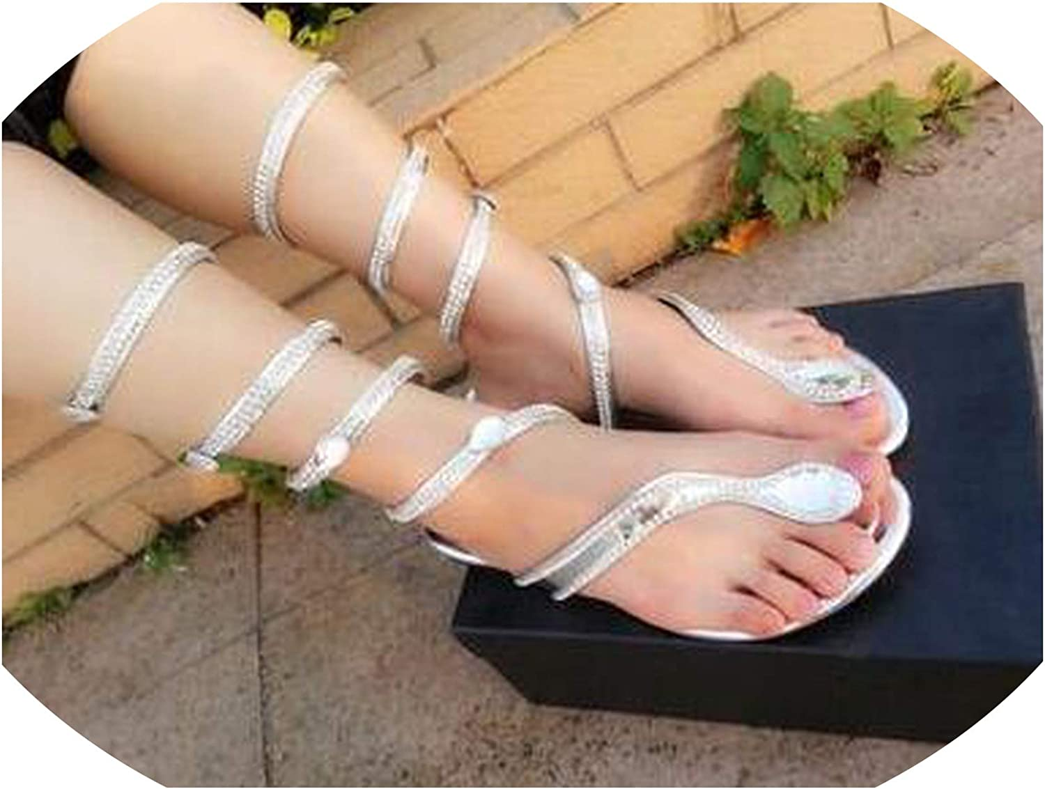 Pink White Flower Summer Luxurious Sandals Women Flat Snake Punk Rhinestone Flat Heel Wedding Party shoes