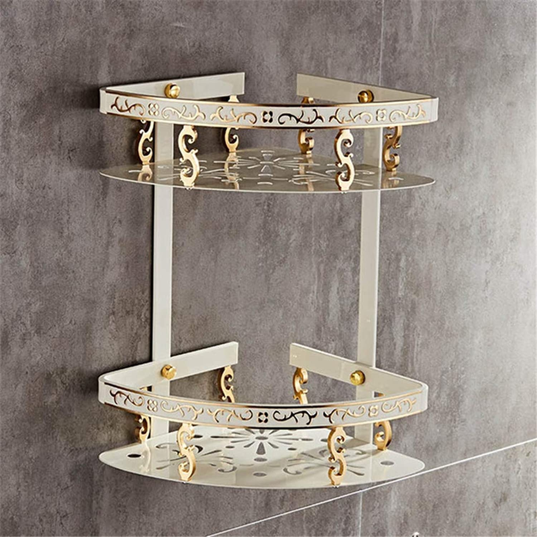 LUDSUY Carved Aluminum Alloy Bathroom Shelf Wall Mounted Basket Bathroom Handware White Bathroom Shelves,A