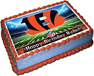 Cincinnati Bengals NFL Personalized Cake Topper Icing Sugar Paper 1/4 8.5 x 11.5 Inches Sheet Edible Frosting Photo Birthday Cake Topper (Best Quality Printing)