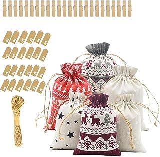 KINGEE 2020クリスマスアドベントカレンダーを埋める、24アドベントカレンダー、クリスマスギフトバッグ、ファブリックバッグ、24ラベル付きアドベントカレンダー、装飾用クリスマスカレンダーバッグ