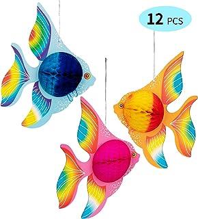 90shine 12PCS Tropical Fish Party Decorations Supplies- Under-The-sea/Mermaid/Luau/Hawaiian/Kids Birthday