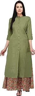Pistaa's Cotton Flex Pista Green Kurta With Matching Palazzo set