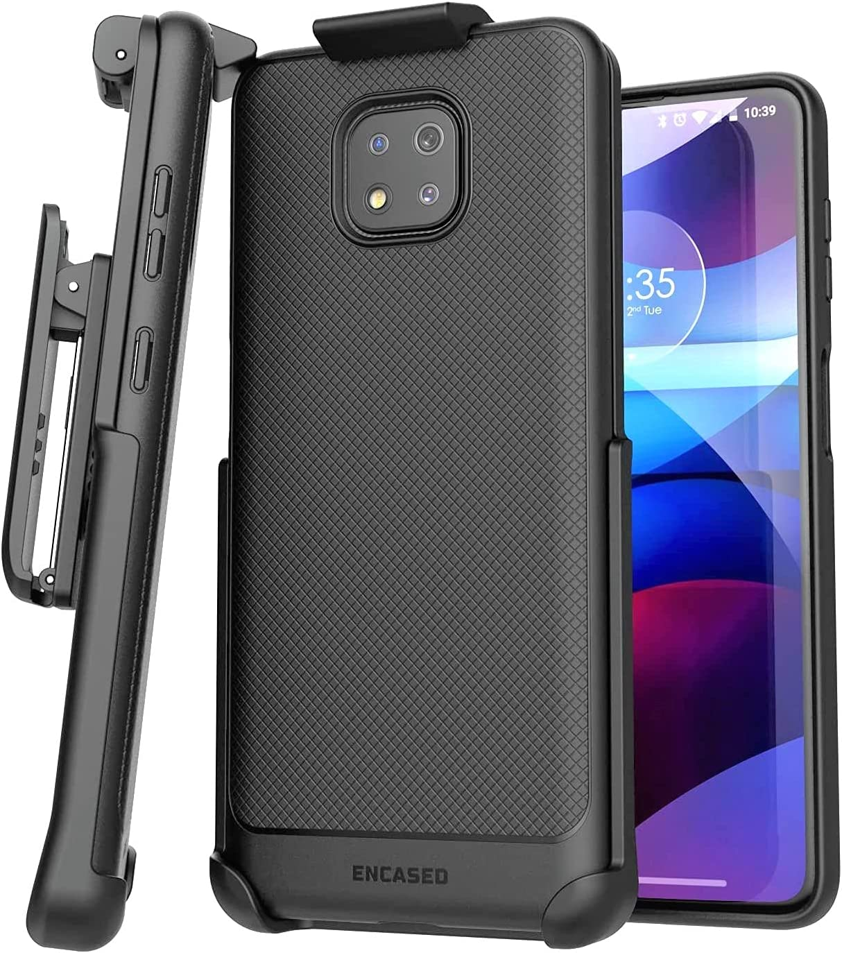 Encased Moto G Power 2021 Belt Clip Case (Thin Armor Series) Slim Grip Cover with Phone Holster, Black (Motorola G Power 2021 ONLY)