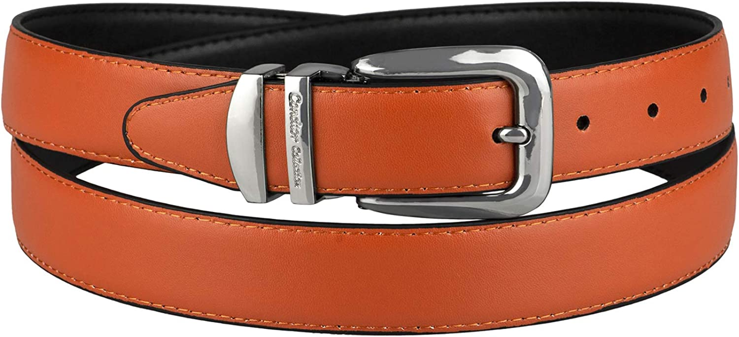 CONCITOR Reversible Belt Wide Solid Colors Ranking 1 year warranty TOP13 Black Leather Bonded