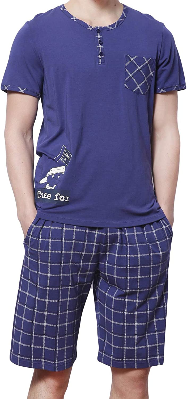 HACAI Men's Pajama Set Soft Cotton Short Sleeve Summer Sleepwear