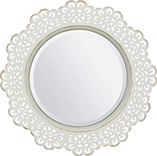 Stonebriar White Decorative Metal Lace Beveled Mirror for Wall with Attached Mounting Bracket, Gold Highlights