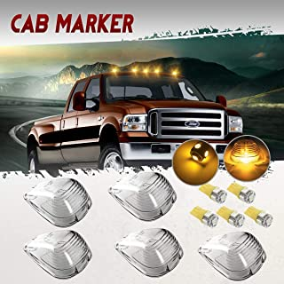 Partsam 5X Clear Cab Marker Light + 5X Amber 5050-SMD 194 168 T10 LED Bulb Replacement for Ford E150 E250 E350 E450 F150 F250 F350 F450 F550 Super Duty 1999-2016