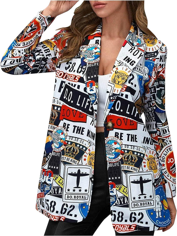 Women's Fashion Art Print Lapel Super special price Neck Dedication Jacket L Blazer Sleeve Long