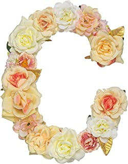 Jonhans8 Artificial Champagne Floral Decorative Letters, Alphabet Letters with Fake Flowers for Special Occasion/Event, 12.2