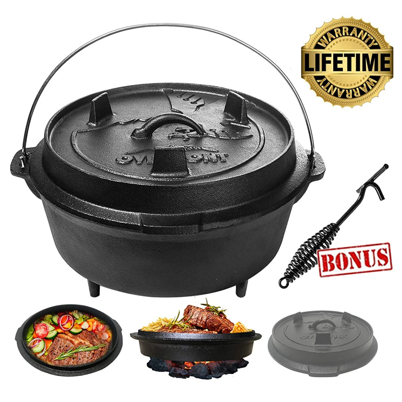 Overmont All-Round Dutch Oven【Dual Function Lid Skillet】【with Lid Lifter】【Pre Seasoned】 Cast Iron Dutch Oven Pot Handle for Camping Cooking BBQ Baking 6 Quart / 9 Quart (6 Quart)