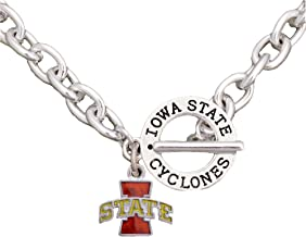 Sports Accessory Store Iowa State Cyclones Team Name Toggle Silver Necklace Red Charm Jewelry ISU