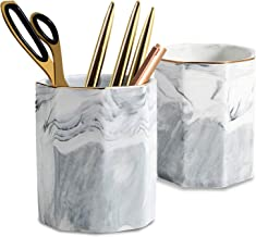 2 Pack Ceramic Pen Holder Stand,Cup for Desk Marble Pattern Makeup Brush Holder for Girls Women,Desk Accessories Holder,Du...