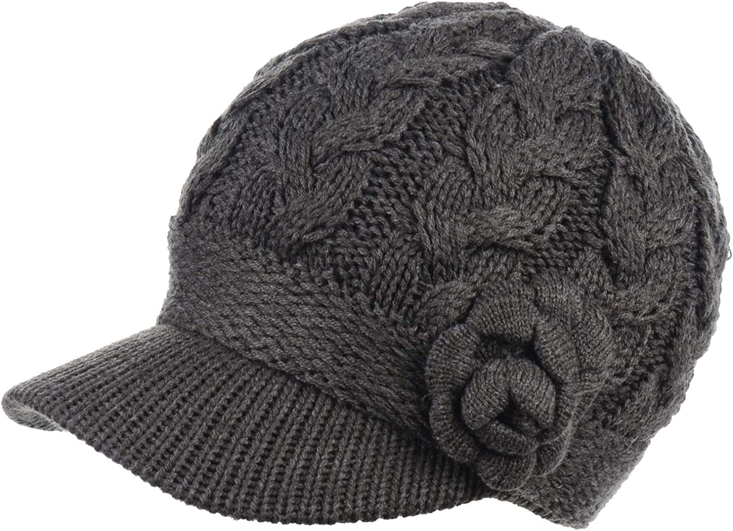 Cash special price Womens Winter Wholesale Elegant Cable Flower Knitted Cabbie Newsboy Cap Be