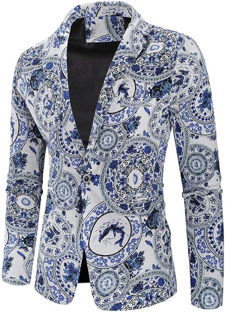 Baohooya Traje Suit Hombre Moderno Boda - Traje de Algodón y Lino Estampado Hawaiano de Estilo étnico Vintage Abrigo Fino Pantalón Esmoquin Abrigo