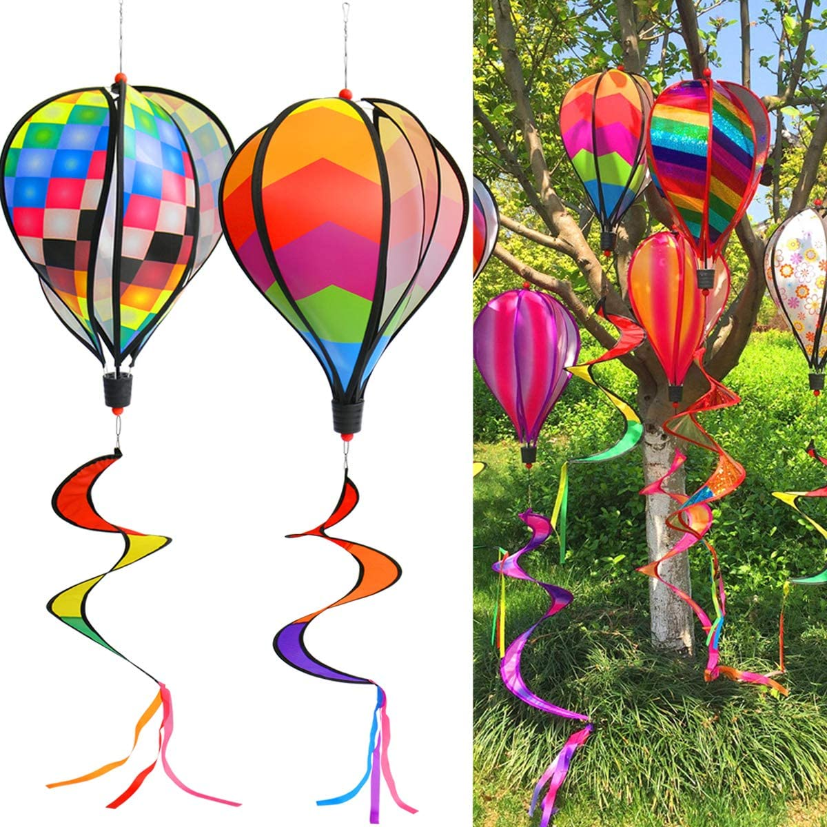 PSMILE Rainbow Kinetic Hot Air Balloon Wind Spinner Hanging Rainbow Wind Twister,2pcs