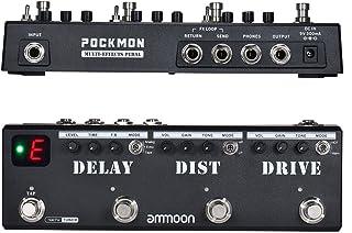 ammoon POCKMON Pedal de Guitarra Tira de Pedales Multiefectos con Sintonizador Distorsión de Retardo Overdrive FX Loop Tap Tempoctos de Guitarra (Multi-Effects)