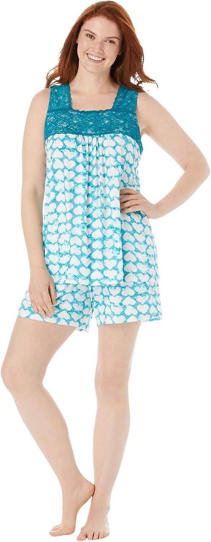 Dreams & Co. Women's Plus Size Lace-Trim Short Pajama Set Pajamas
